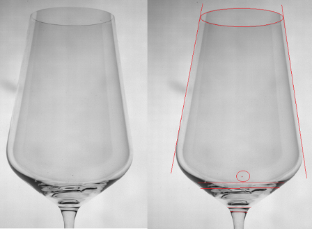 Measurement of proportions and detection of manufacturing defects of glasses